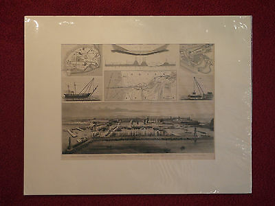 Stahlstich, Hafenansichten, Wilhelmshafen, Suezkanal, Seefahrt, etwa 1870