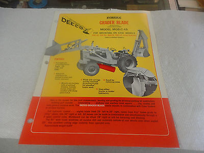 Vintage Deeco Hydraulic Grader Model Mgb-c-45 Mounting On Case Advertisement