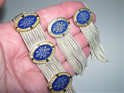 """Vtg Sterling Silver~Enamel Multi Strand Medallion Bracelet & Earring Set~7+""""~70G"""
