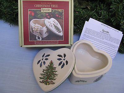 SPODE Christmas Tree Pierced Heart Shaped Trinket Box Potpourri Jewelry NIB $53