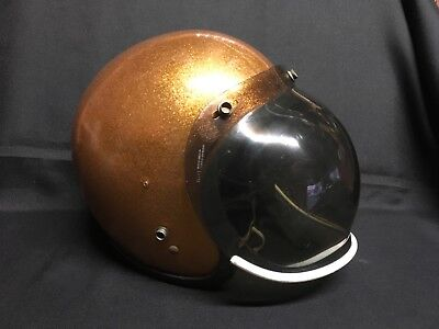 """Sterling Products """"Cougar"""" Gold Flake Helmet w/ Paulson Bubble Shield, Sz 7"""