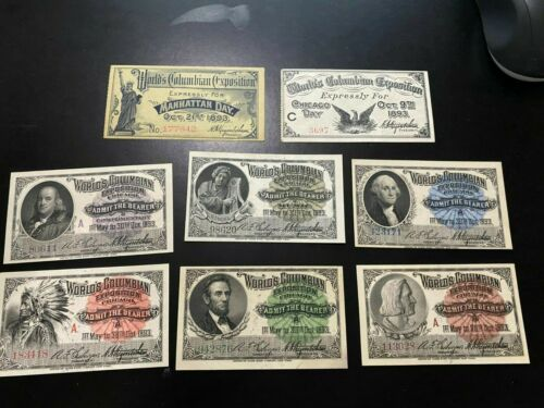 1893 Chicago Columbian Exposition set of (8) Admission Tickets