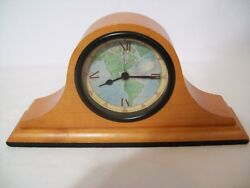 Vintage Small Wood Quartz Desk/Mantel Clock World Face Design Made in USA
