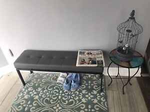 Bouclair. Faux leather grey bench