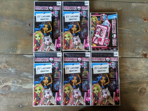 Huge Lot of 167 Monster High Valentines Day Cards - 6 Boxes - New Factory Sealed