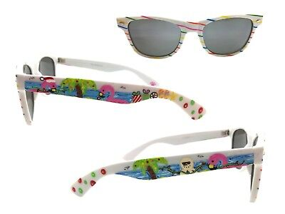 White Beach Christmas Sunglasses w/ Hand Painted Flamingos, Palm Trees, Snowman