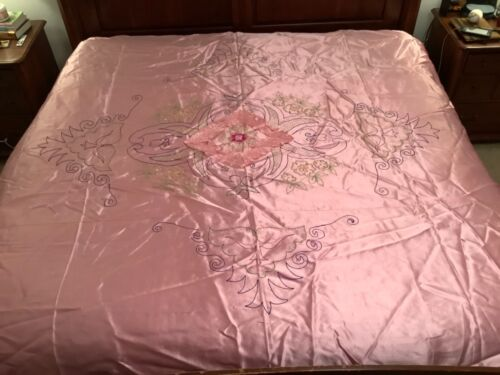 Vintage 1950s Pink Satin Embroidered Asian Bedspread & Pillowcase Japanese