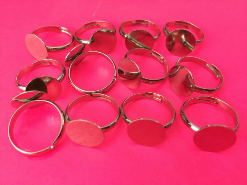 Quality Adjustable Finger Ring w Flat Base for Jewelry Making Crafting 50 pieces