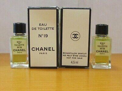 Vintage CHANEL No 19 Perfume Women 4,5 ml EDT SPLASH TRAVEL SIDE NIB RARE