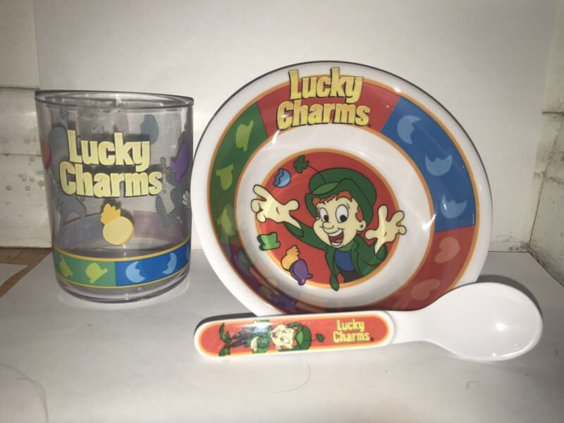 Lucky Charms 3 piece Bowl, Cup, and Spoon Rare/Vintage NIB