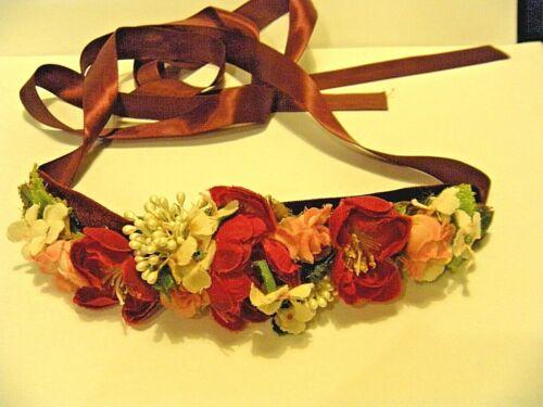 Vintage 1950s Floral Hair Sash Headband or Belt Long Silk Ribbon