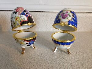 Vintage Hand Painted Jewelry Box Eggs