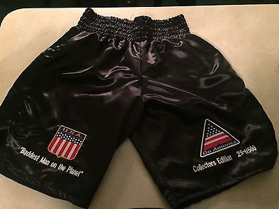 Mike Tyson Custom Unsigned Boxing Shorts With Patches And Embroidery