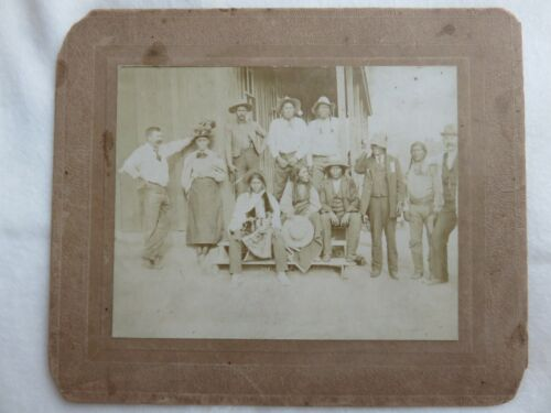 Original Early Western photo of Native Americans pictured with frontiers men