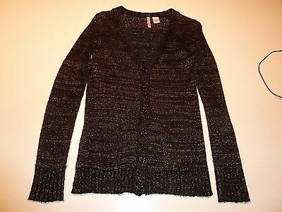 New BLACK CRIMSON NY Womens Black Silver Metallic Cardigan Sweater Sz M