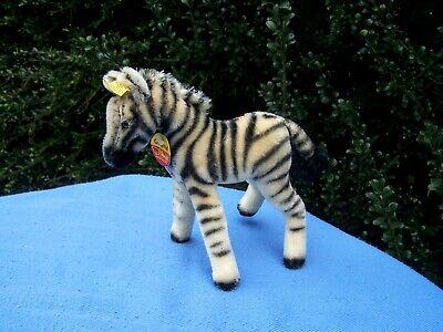 """Steiff Mohair Zebra 8"""" Standing 1420/22 Vintage 1960s"""