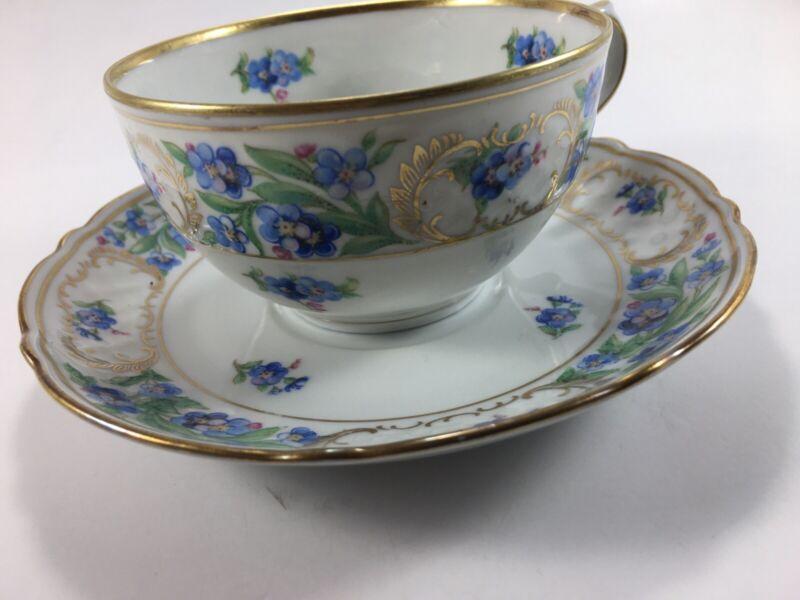 Vintage Schumann - Bavaria Forget Me Not  Demitasse Tea Cup & Saucer Blue Gold