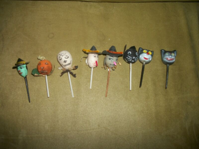 8 VINTAGE JAPAN SPUN COTTON HALLOWEEN CUPCAKE CAKE PICKS WITCH CAT PUMPKIN CUTE