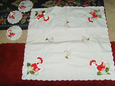 """Great table topper small kitchen tablecloth red and chickens 34x35"""" cutwork chic"""