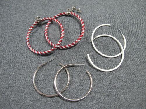 Vintage red & silvered + white enamel + silvertone metal hoop earrings