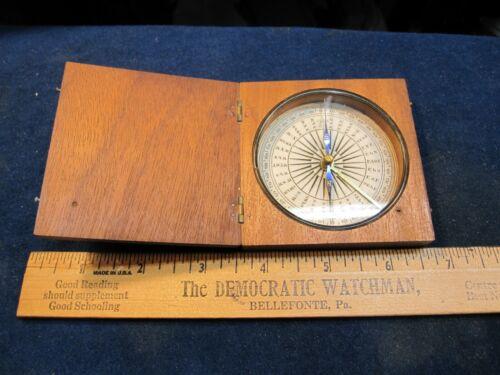 antique maritime walnut compass