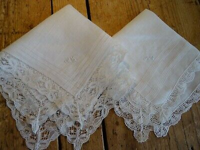 2 Stunning Vintage / Antique Lace Edged Hankies Embroidered Initial 'AG' Wedding