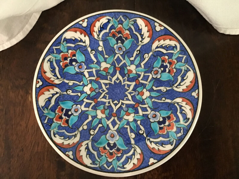 """Kutahya Signed Art Turkish Pottery Hand Painted Floral Plate 7"""""""