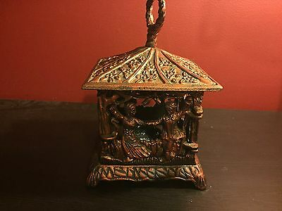 Vintage Cast Iron Japanese Pagoda Style Candle lantern with children on the side