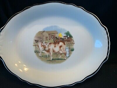 Vintage Homer Laughlin Best China Usa Platter FFA-1  Cow