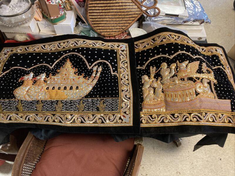 "2 Kalaga Tapestry Thailand, Burmese.  Sequins 22"" X 32. Square Beautiful."