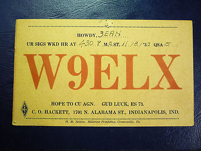 Vintage 1933 QSL Radio Card Postcard W9ELX - from INDIANAPOLIS, IN INDIANA #2