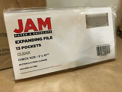 Jam Paper 13 Pocket Expanding File With Button String Closure Clear Check Size
