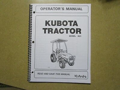 Kubota B21 B 21 Tractor Owners Maintenance Manual