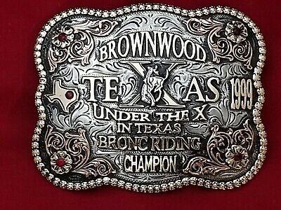 1999 VINTAGE RODEO TROPHY BELT BUCKLE~BROWNWOOD TEXAS BRONC RIDING CHAMPION 63