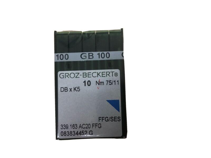 100 QTY GROZ BECKERT INDUSTRIAL EMBROIDERY MACHINE NEEDLES DBXK5 10 75/11, 100pk