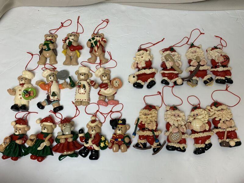 Vintage Lot of 20 Salt Dough Clay Christmas Ornaments, sports santa and bears