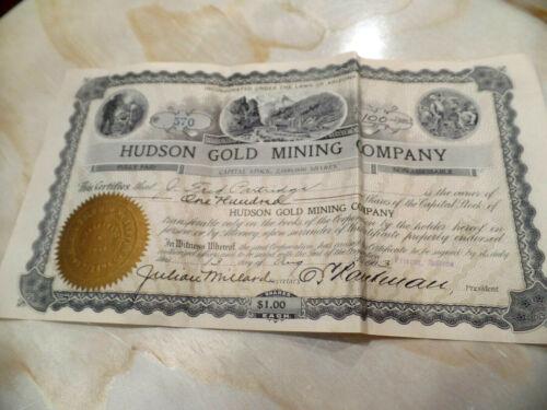 1903 HUDSON GOLD MINING COMPANY STOCK CERTIFICATE PRESCOTT ARIZONA