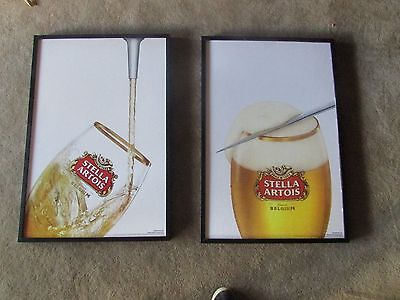 "25""x 37"" Stella Artois Large Canvas Style Framed Beer Sign Bar Pour Glass Lot"