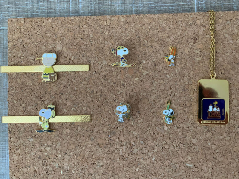 Vintage Snoopy Charlie Brown Jewelry, Tie Clips, Lapel Pins, Charms, Necklace.