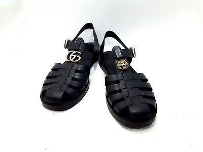 Auth GUCCI GG Marmont Black Rubber Sandals Men