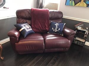 Lazyboy Brand Red Leather Recliner Set