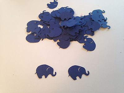 100 Navy Blue Elephant Die Cuts Confetti Scrapbook Baby Shower Embellishment