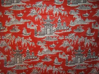"""Waverly """"Peaceful Temple"""" Oriental motif glazed cotton,  BTY various colors"""