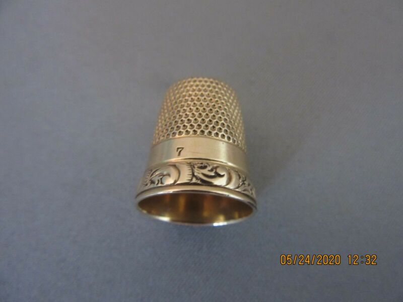 Stunning Marked 14K Yellow Gold Antique Vintage Sewing Thimble Size 7