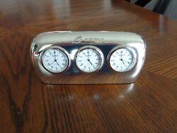 Bey-Berk Salzburg Triple Time Zone Silver Tone Desk Clock