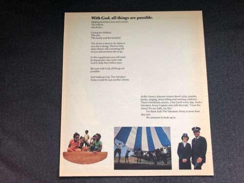 Vintage ADVERTISING PROOF Salvation Army God Possible Poem J Walter Thompson Co