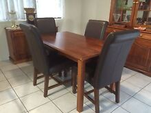 Dining table with 4 chocolate leather chairs Ashmore Gold Coast City Preview