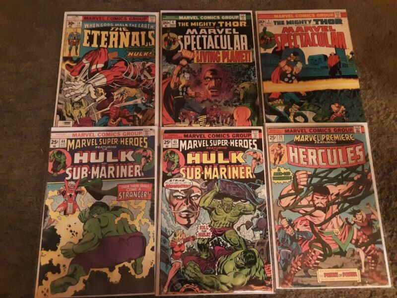 Marvel Comics Bronze Age Comic Lot Of 6 VG to VF Early 70s Hulk & Thor
