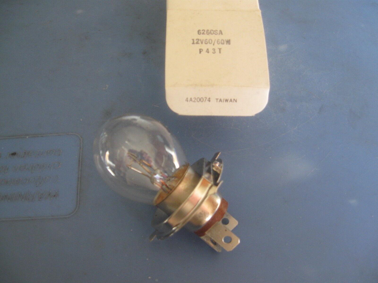 Snowmobile Headlight Bulb. 6260SA. 12V60/60W. P43T Base. NOS
