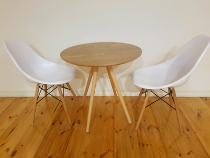 2 Seater Retro Round Table Dining Set Light Wood White Chairs